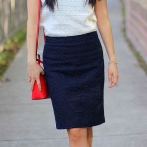 J.Crew Navy Blue Floral Eyelet Pencil Skirt Sz 14